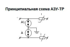 Принципиальная схема АЗУ с разрядниками и позистором