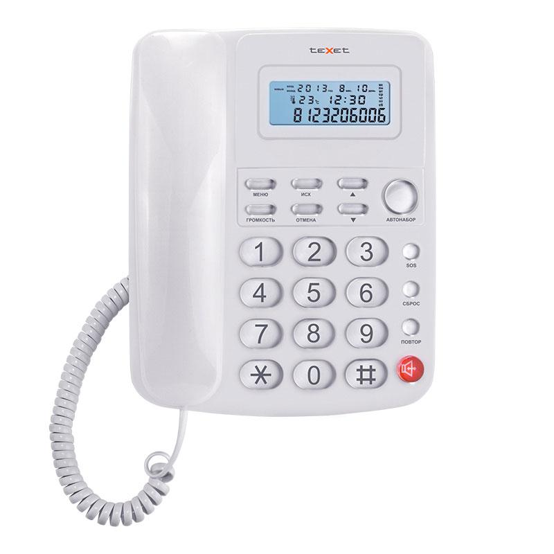 Фото: Классический проводной телефон с удлиненными линейным и витым шнурами