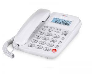 Фото классического проводного телефона с удлиненными линейным и витым шнурами