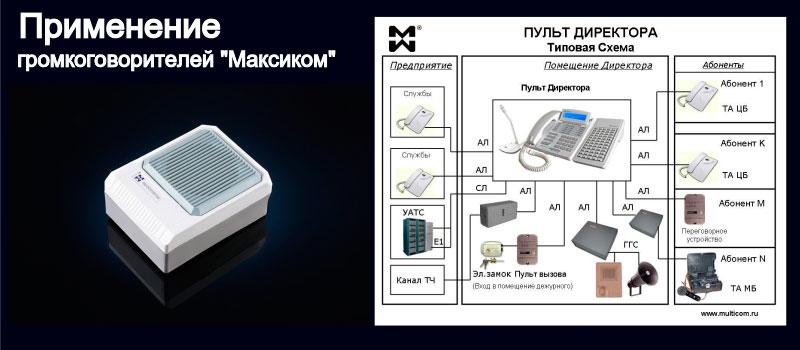 """Изображение громкоговорителя """"Максиком"""" и пульта директорской связи"""