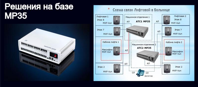 Изображение гибридной мини АТС и системы лифтовой связи больницы