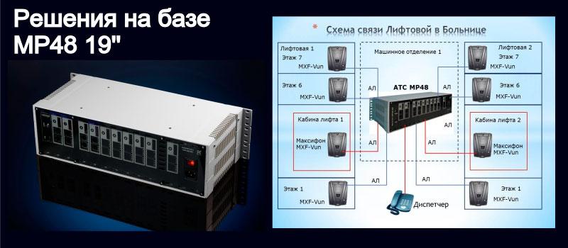 Изображение гибридной мини АТС и системы лифтовой связи.