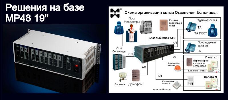 Изображение гибридной АТС и системы палатной связи отделения больницы