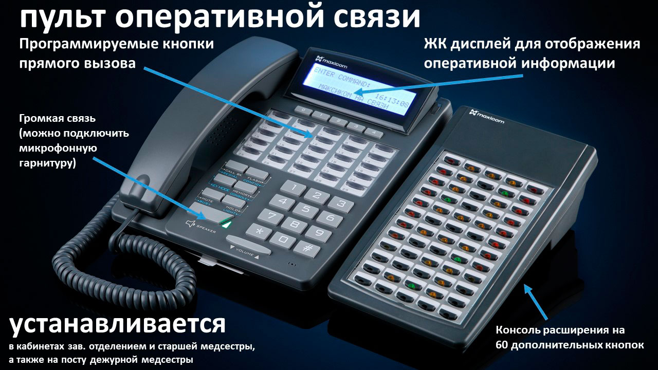 Связь в больнице, пульты связи: Фото системного телефона STA39G и консоли расширения