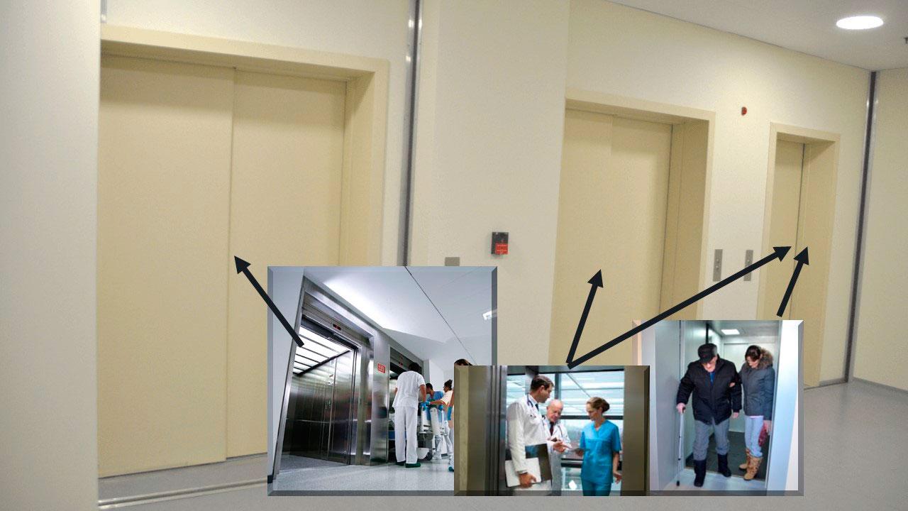 Система связи лифтов в больнице. Иллюстрация к статье. Фото лифтов на этаже больницы и схема их эксплуатации