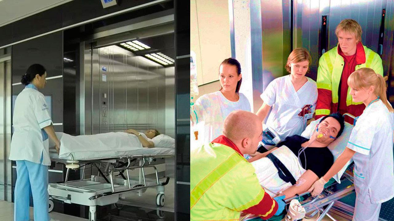Система связи лифтов в больнице. Иллюстрация к статье. Фото больничного лифта и бригады медиков