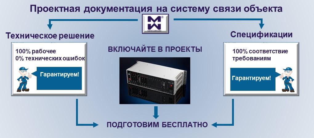 Проектная документация на систему связи объекта: техничкое решение и спецификации.