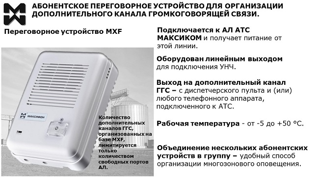 Диспетчерская ГГС элеватора. Переговорное устройство для организации дополнительного канала ГГС