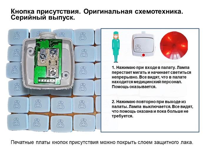 палатная связь для инфекционных больниц: кнопка присутствия