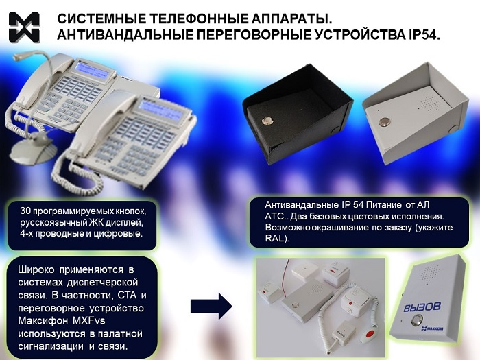 Внутренние абоненты АТС: системные телефонные аппараты и переговорные устройства.