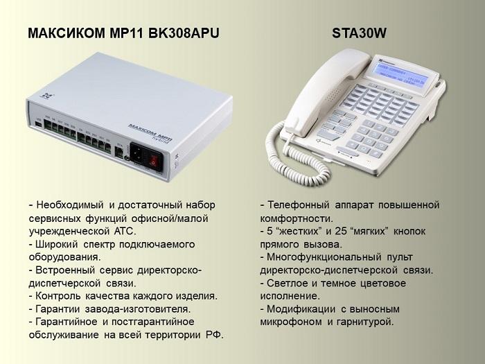 Фот мини АТС на 3 СЛ и 8 АЛ и системного телефонного аппарата.
