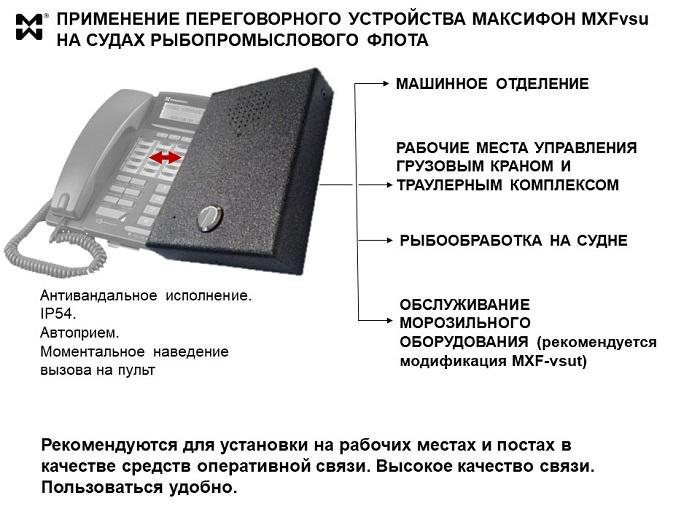 Переговорное устройство MXFvsu и его применение на судне.