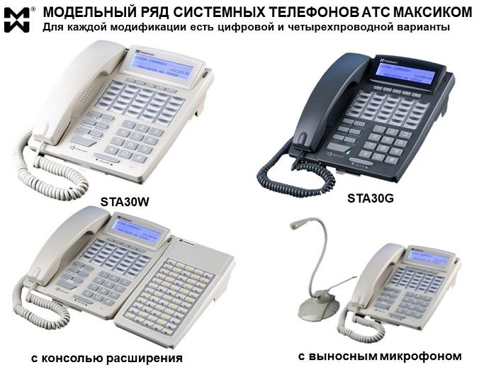 Фото системных телефонов АТС МАКСИКОМ