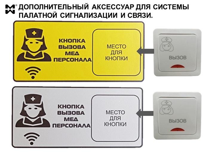 Аксессуары к системе палатной связи. Табличка и кнопка.