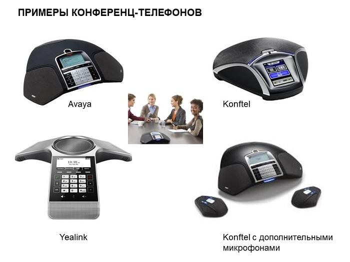 Фото разных моделей конференц-телефонов