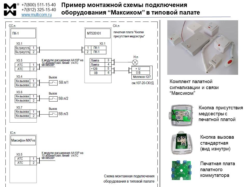 Монтажная схема подключения системы вызова медперсонала