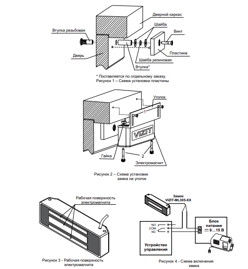 Схема установки электромагнитного замка