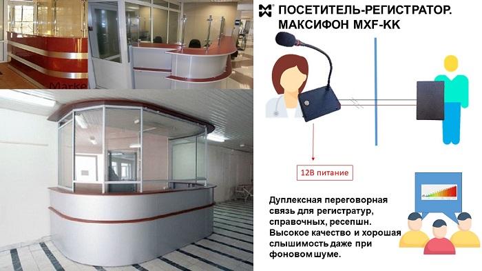 дуплексная переговорная связь для регистратур и справочных